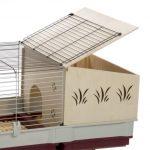 La caseta para conejos grandes Krolik 140 Plus tiene techo abatible para facilitar la limpieza