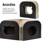 La caseta rascador para gatos medianos Pawaboo se puede colocar de múltiples formas