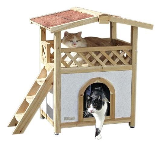 La caseta para gatos grandes Tyrol Alpin es de madera