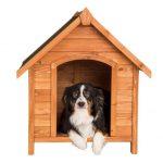 La caseta para perros medianos TecTake está fabricada con madera de pino barnizada