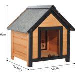 La caseta para perros pequeños marca PawHut con diseño funcional
