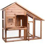 La caseta para conejos grandes con jaula Dibea luce en cualquier jardín