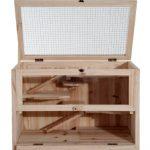 La caseta para conejos pequeños PawHut tiene techo abatible